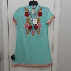 Blue Embroidered Tunic Dress